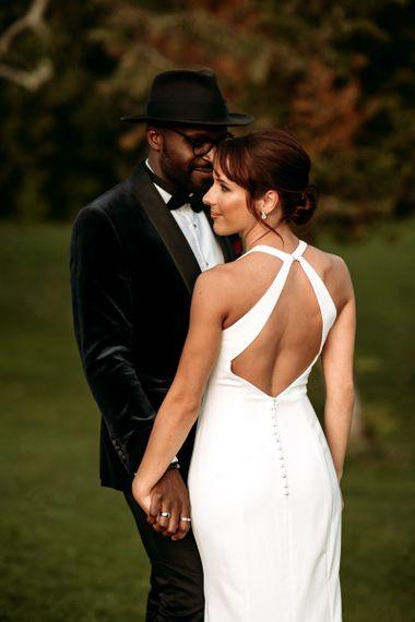 Halterneck back detail on Wendy Makin wedding dress