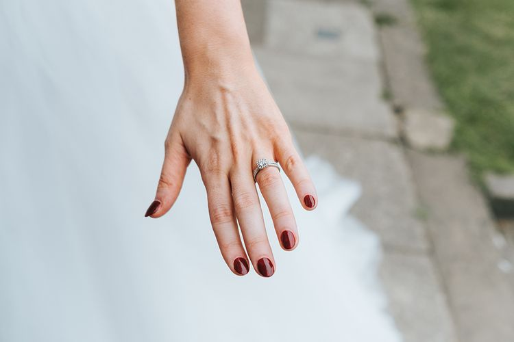 Red Nails For Bride // The Groucho Club Private Members Club London Wedding With Bride In Sequinned Dress & Flowers By Daisy Ellen Images By Miss Gen Photography