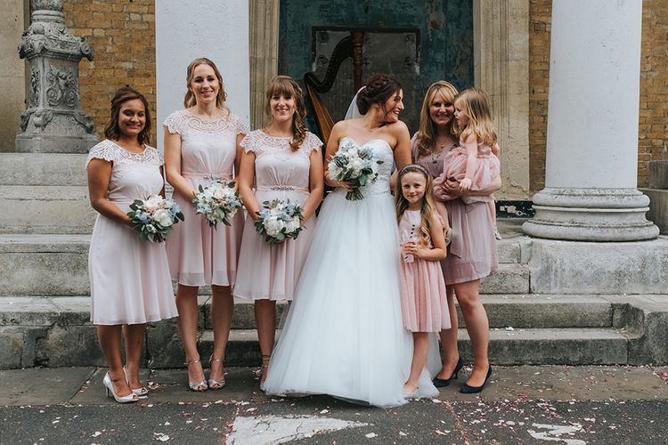 Bridesmaids In Pink Dresses // The Groucho Club Private Members Club London Wedding With Bride In Sequinned Dress & Flowers By Daisy Ellen Images By Miss Gen Photography