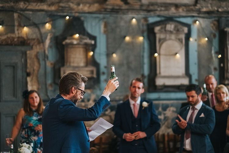 Wedding Ceremony Speech From Groom // The Groucho Club Private Members Club London Wedding With Bride In Sequinned Dress & Flowers By Daisy Ellen Images By Miss Gen Photography