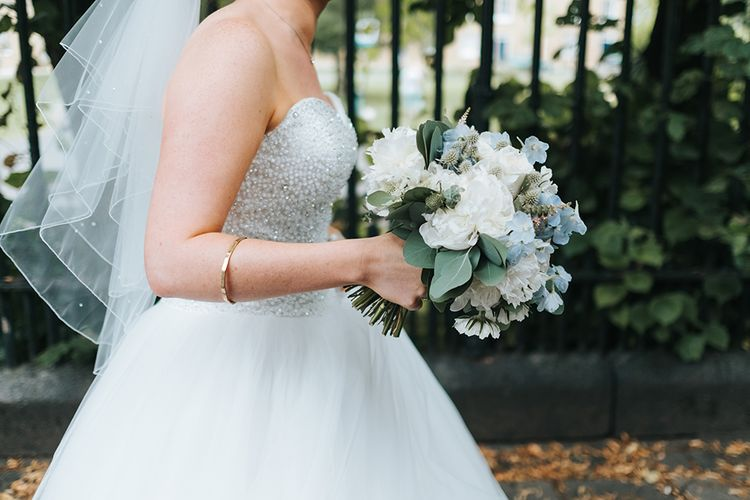White Flower Wedding Bouquet // The Groucho Club Private Members Club London Wedding With Bride In Sequinned Dress & Flowers By Daisy Ellen Images By Miss Gen Photography