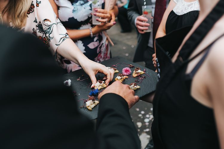 Canapés From The Canababes // The Groucho Club Private Members Club London Wedding With Bride In Sequinned Dress & Flowers By Daisy Ellen Images By Miss Gen Photography