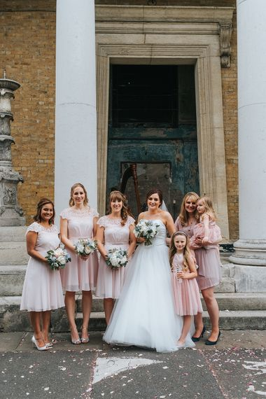 Pink Dresses For Bridesmaids // The Groucho Club Private Members Club London Wedding With Bride In Sequinned Dress & Flowers By Daisy Ellen Images By Miss Gen Photography