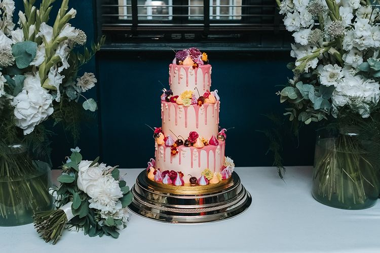 Wedding Cake With Drip Icing & Mini Meringues // The Groucho Club Private Members Club London Wedding With Bride In Sequinned Dress & Flowers By Daisy Ellen Images By Miss Gen Photography