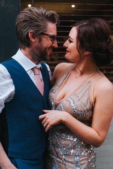 The Groucho Club Private Members Club London Wedding With Bride In Sequinned Dress & Flowers By Daisy Ellen Images By Miss Gen Photography