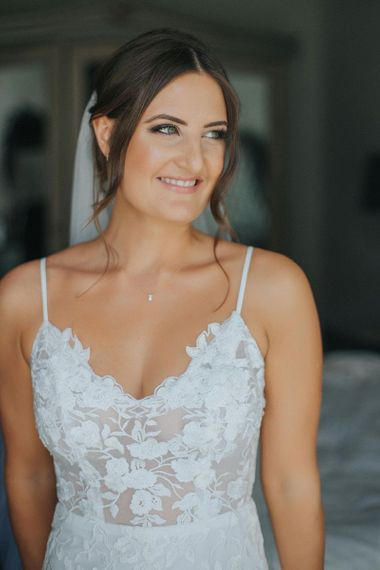 Lace Bridal Dress with Thin Straps and V Neck