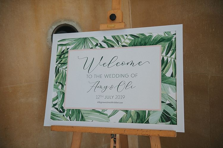 Wedding Welcome Sign with Green Foliage Imagery Border