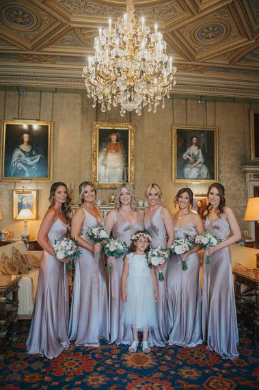 Satin Bridesmaid Dresses in Taupe from Ghost with Flower Girl in Flower Crown
