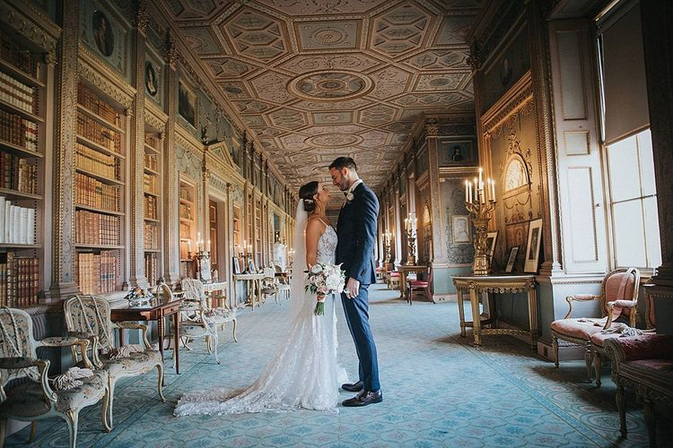 Bride and Groom after Ceremony in Large Stately Room at Syon Park