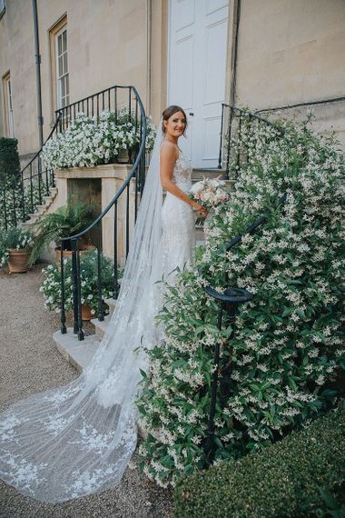 Lace Wedding Dress with Low V Back and Long Lace Detailed Veil