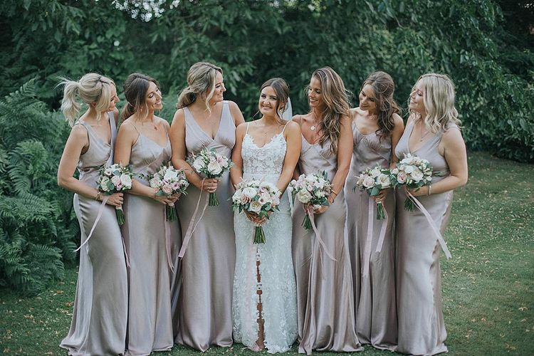 Taupe Satin Bridesmaid Dresses from Ghost