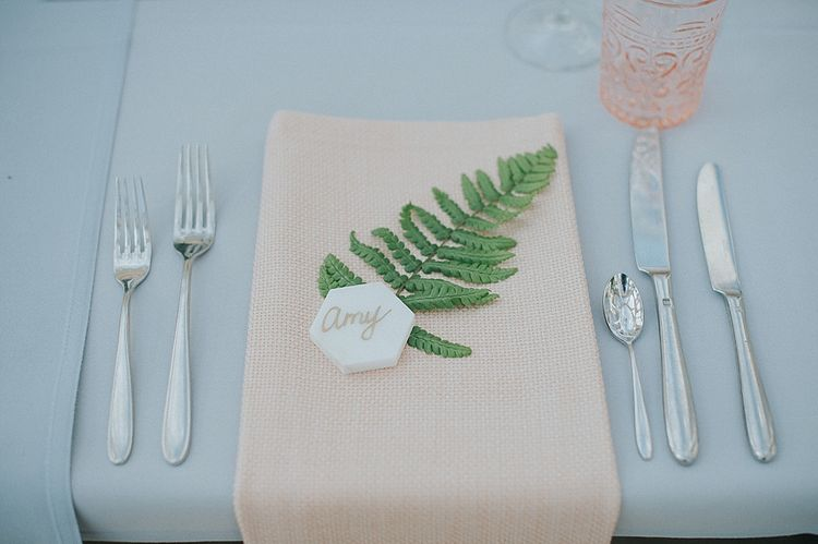 Table Place Names with Marble Tile and Foliage