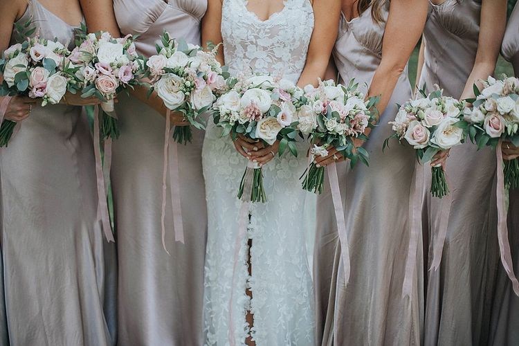 Taupe Satin Bridesmaid Dresses  from Ghost with Floral Bouquet