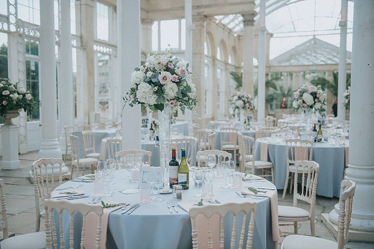 Orangery Reception at Syon Park with Tall Floral Centrepiece