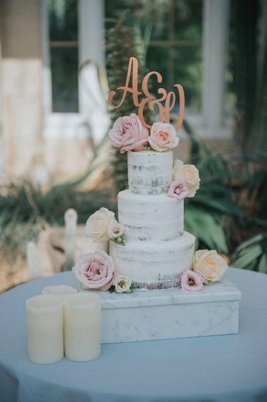 Semi-Naked Tiered Wedding Cake with Pink Roses