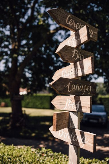 Wooden Signpost at Wedding