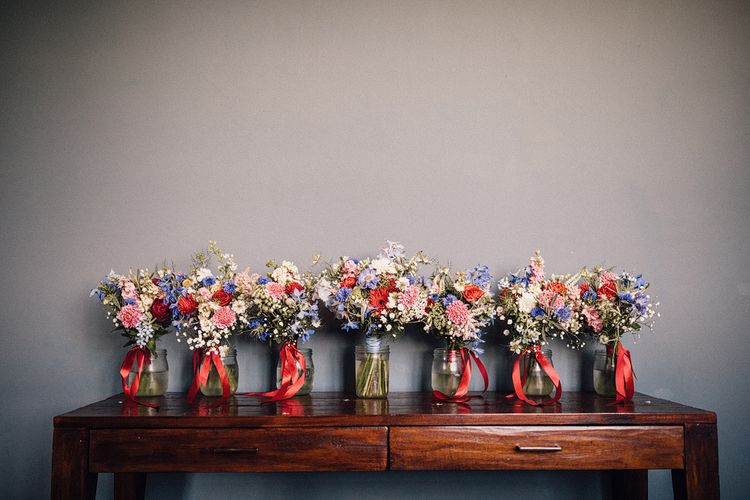 Bright Bridal Party Bouquets in Vases