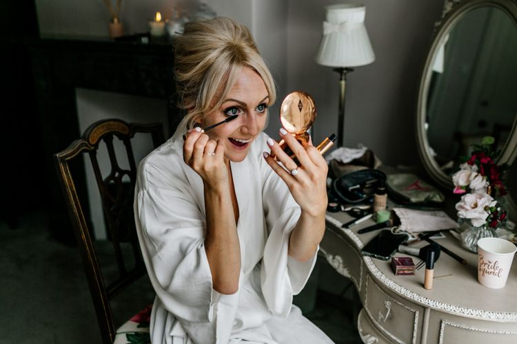 Bridal Beauty Bride Doing Her Own Makeup During Preparations
