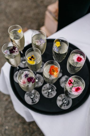 Edible Flowers In Champagne Flutes