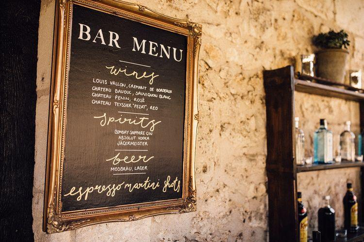 Chalboard Bar Menu