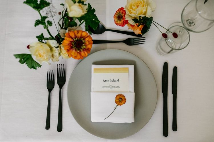Wedding Table Setting with Bright Flowers