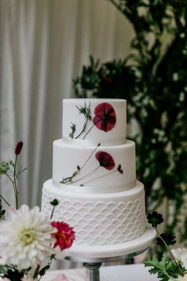 Wedding Cake With Pressed Flower Detail