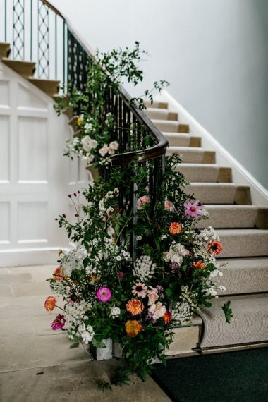 Floral Staircase Garland For Wedding in Bright Colours