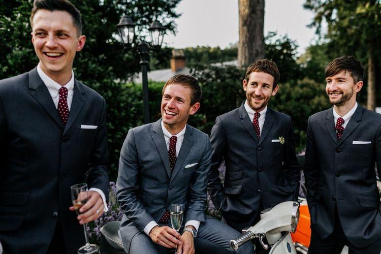 Groomsmen in Grey Suits with Burgundy Ties