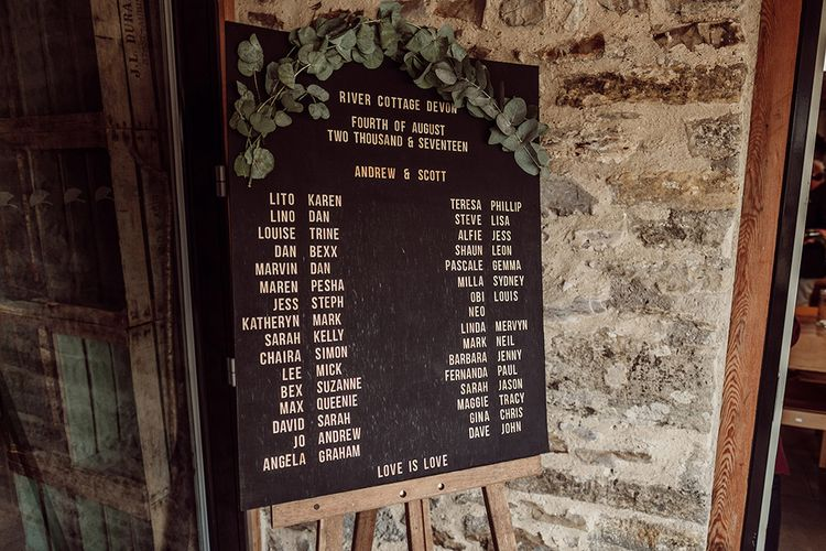 Barber Board Table Plan For Wedding // Stylish Minimal Wedding At River Cottage With Grooms In Reiss & Hugo Boss Images By Jason Mark Harris And Film From Harris Films