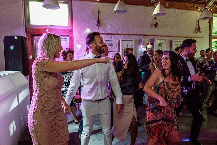 Salsa Dancing Lesson At Wedding // Stylish Minimal Wedding At River Cottage With Grooms In Reiss & Hugo Boss Images By Jason Mark Harris And Film From Harris Films