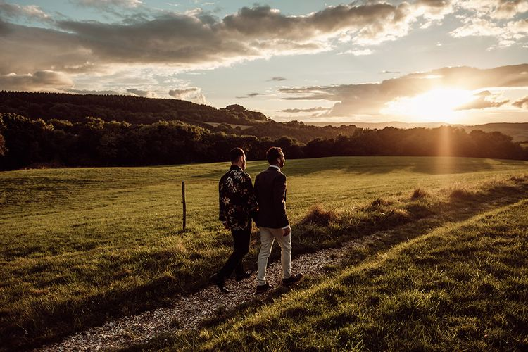 Golden Hour Portraits // Stylish Minimal Wedding At River Cottage With Grooms In Reiss & Hugo Boss Images By Jason Mark Harris And Film From Harris Films
