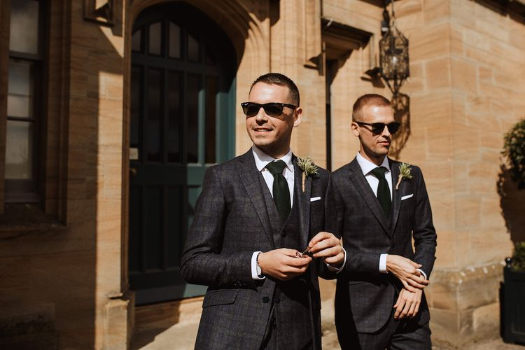 Grooms in Tailored Check Suits and Sunglasses