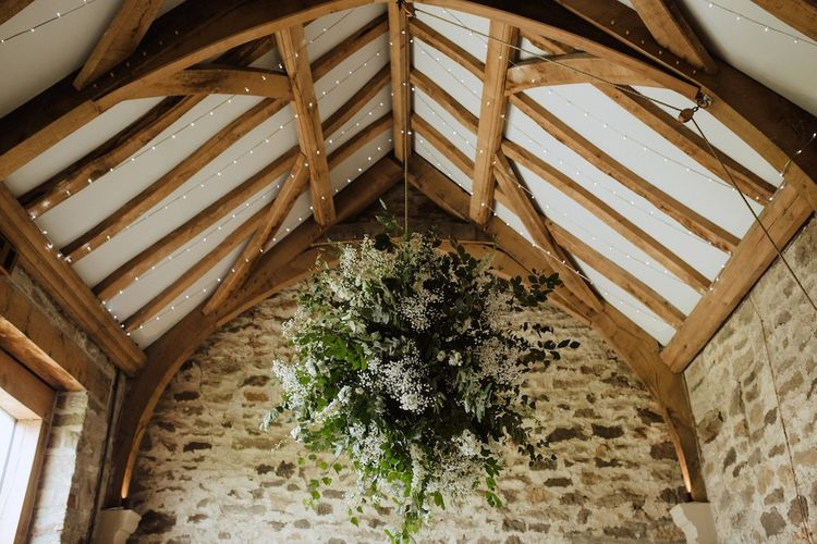 Hanging White and Green Flower Installation at Healey Barn Wedding Venue