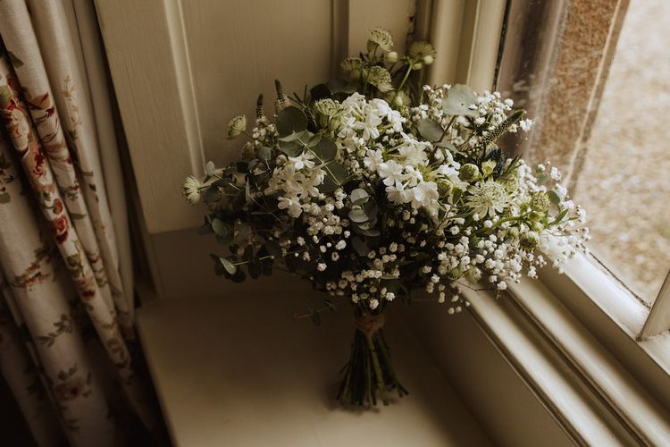 White and Green Bridesmaid Bouquet with Gypsophila