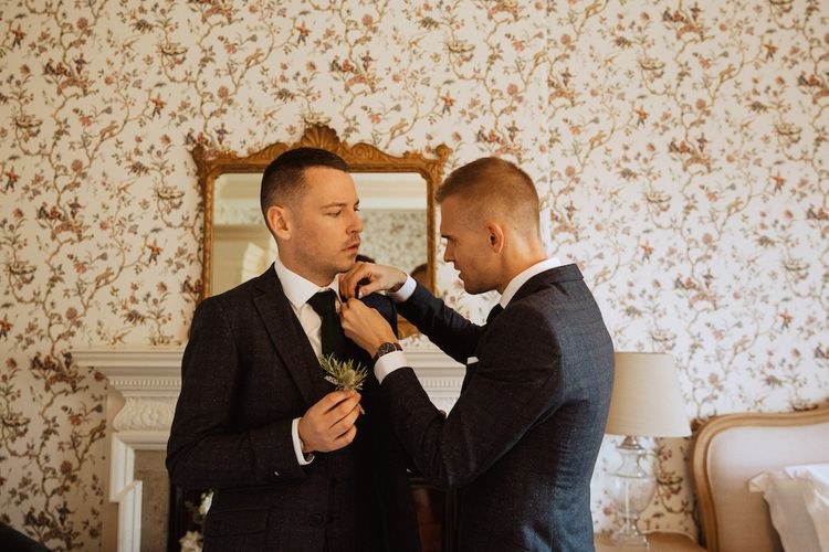 Grooms Getting Ready Together on the Wedding Morning
