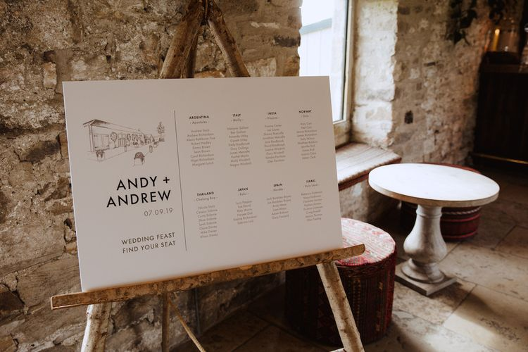 Modern Seating Chart with Typography and Illustration