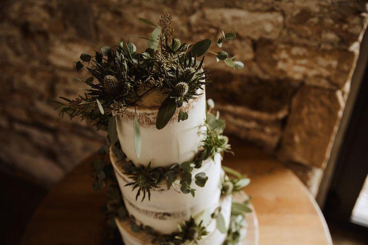 Foliage, Ferns and Succulent Rustic Wedding Cake Decor