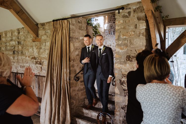 Two Grooms Enter Their Gay Wedding Reception at Healey Barn in Northumberland