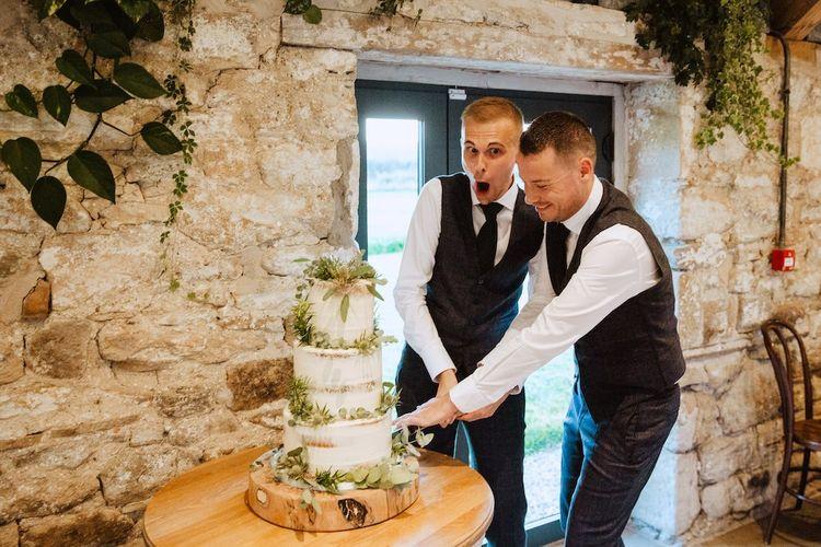 Mr & Mr Cutting the Rustic Wedding Cake at Gay Wedding