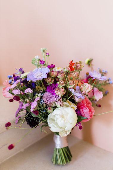 Bright pink and purple wild flower bouquet