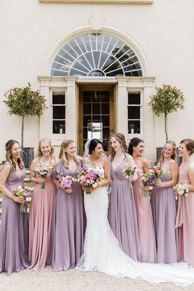 Pastel pink and lilac bridesmaid dresses