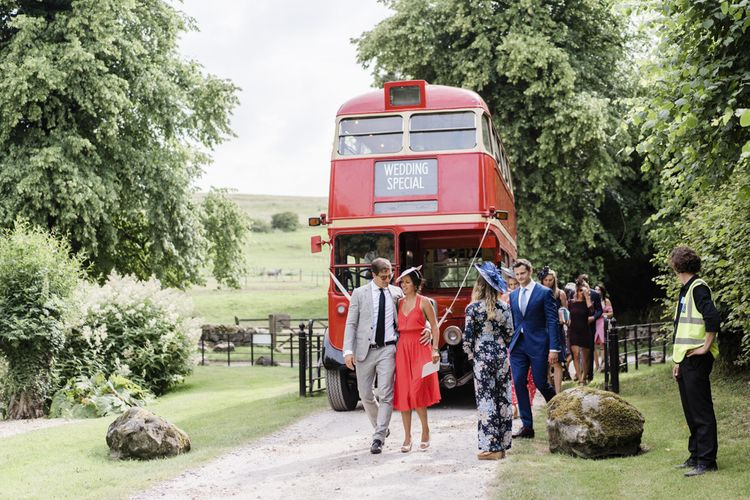 Double Decker red bus wedding transport