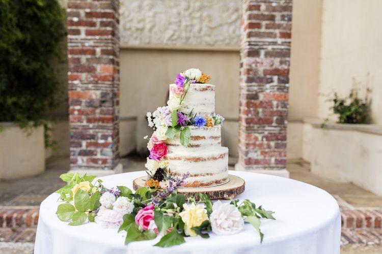 Semi-naked wedding cake at Summer wedding