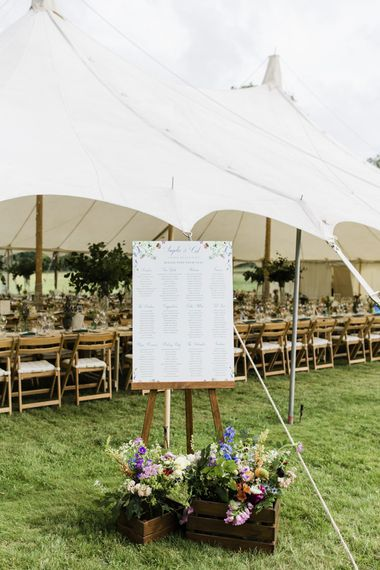Wedding seating chart at marquee wedding