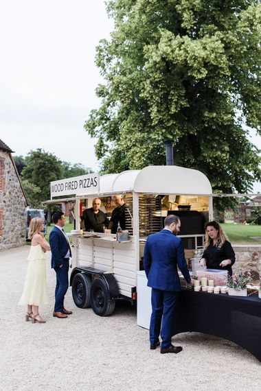 Pizza truck for evening wedding food