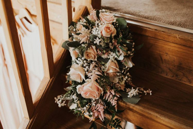 Pink rose wedding flowers for outdoor summer ceremony