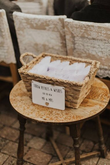 Personalised confetti basked at The Ferry House Inn for outdoor ceremony