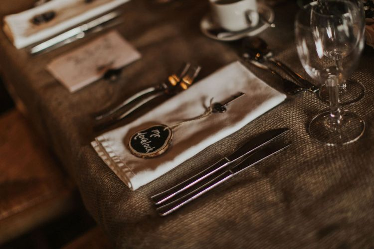 Place settings for rustic styled reception at The Ferry House Inn