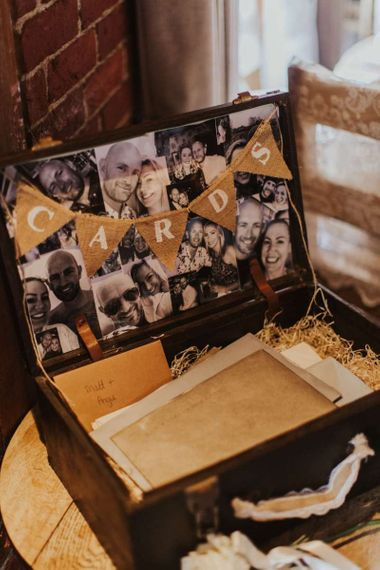 Personalised card box with bunting sign and black & white pictures for rustic reception