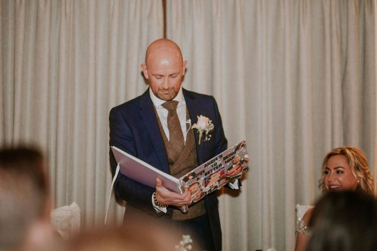 Bride and groom speeches at The Ferry House Inn reception with rustic styling and floral decor